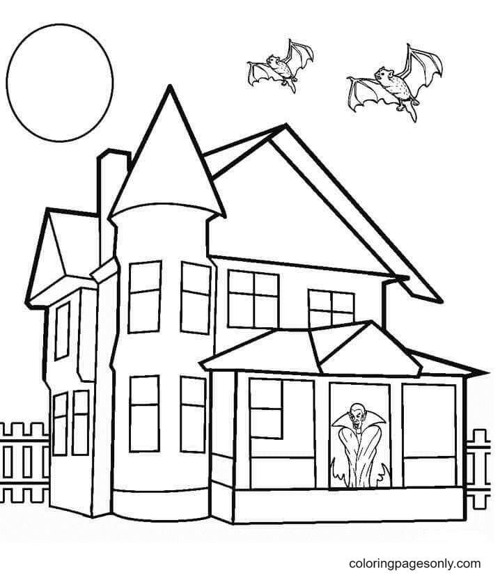 Dracula Haunted Mansion Coloring Page