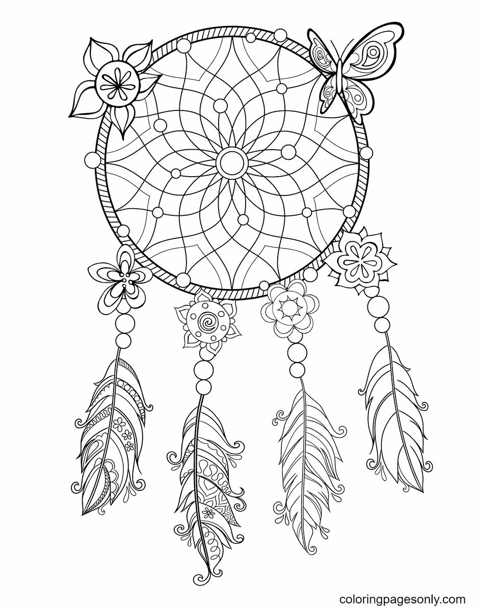 Dream Catcher Aesthetic Drawings Coloring Page