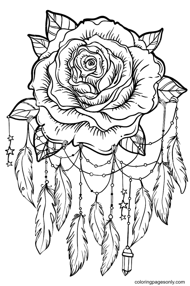 Dream Catcher With Rose Flower Coloring Page