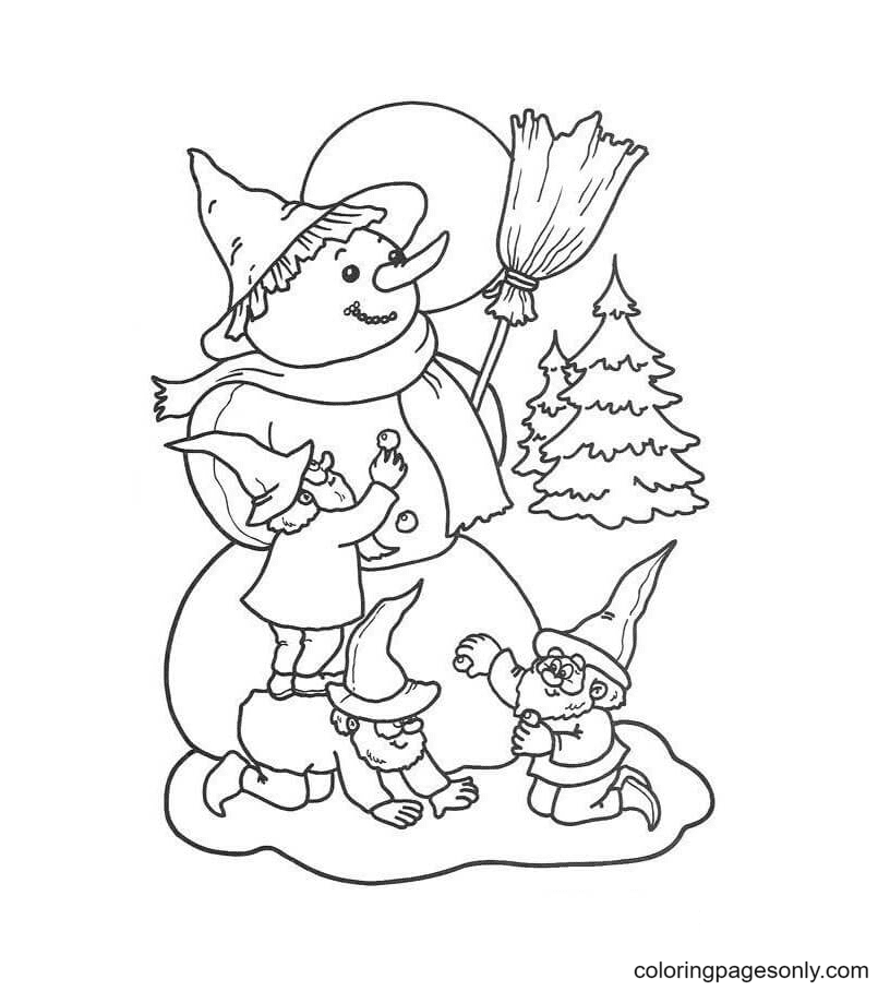 Dwarfs Are Making Snowman Coloring Page