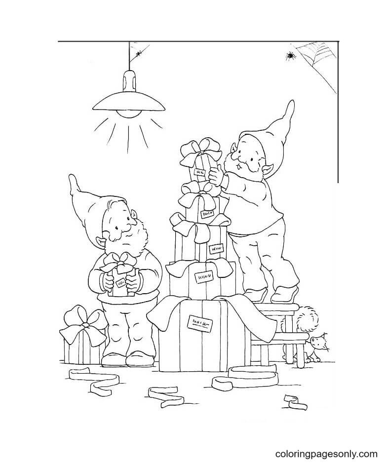 Dwarfs Help Santa Coloring Page