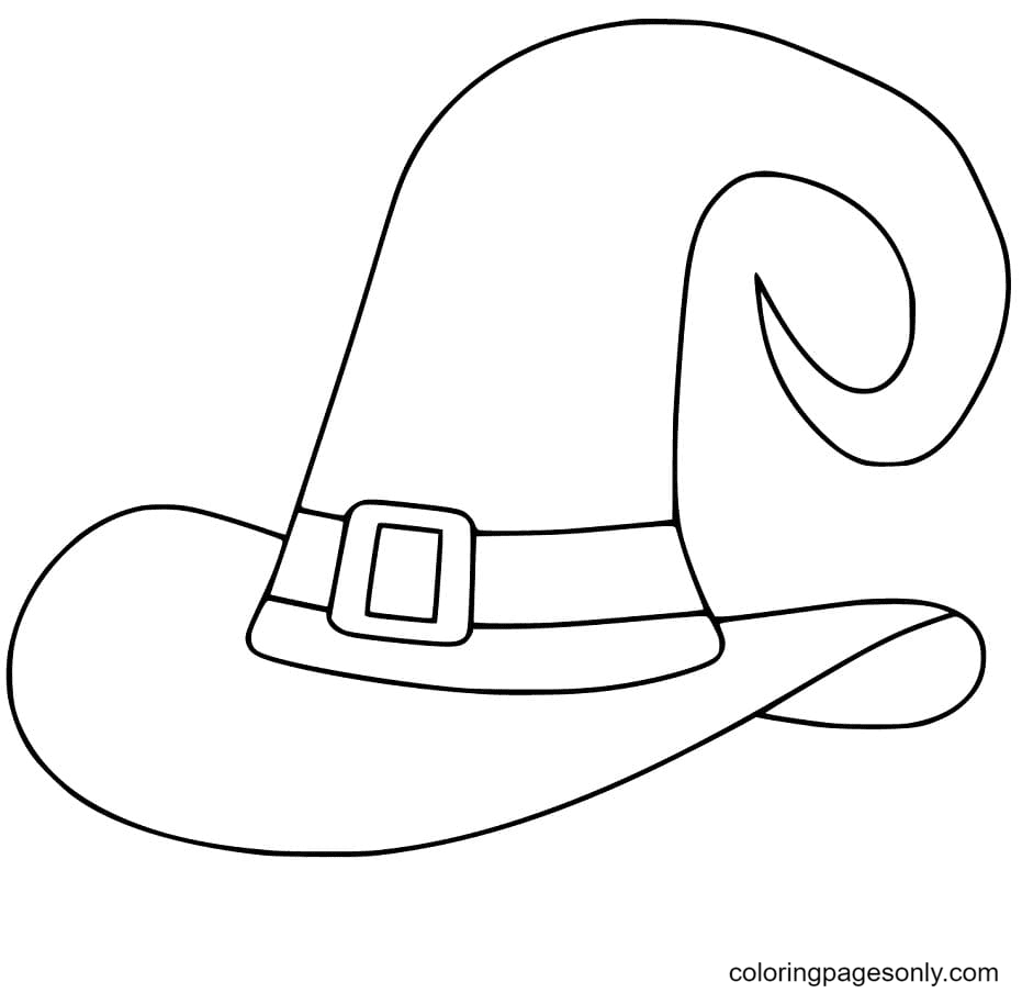 Easy Witch Hat Coloring Page