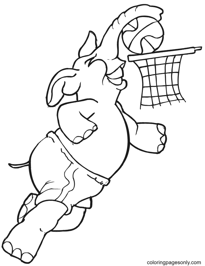 Elephant Playing Basketball Coloring Page