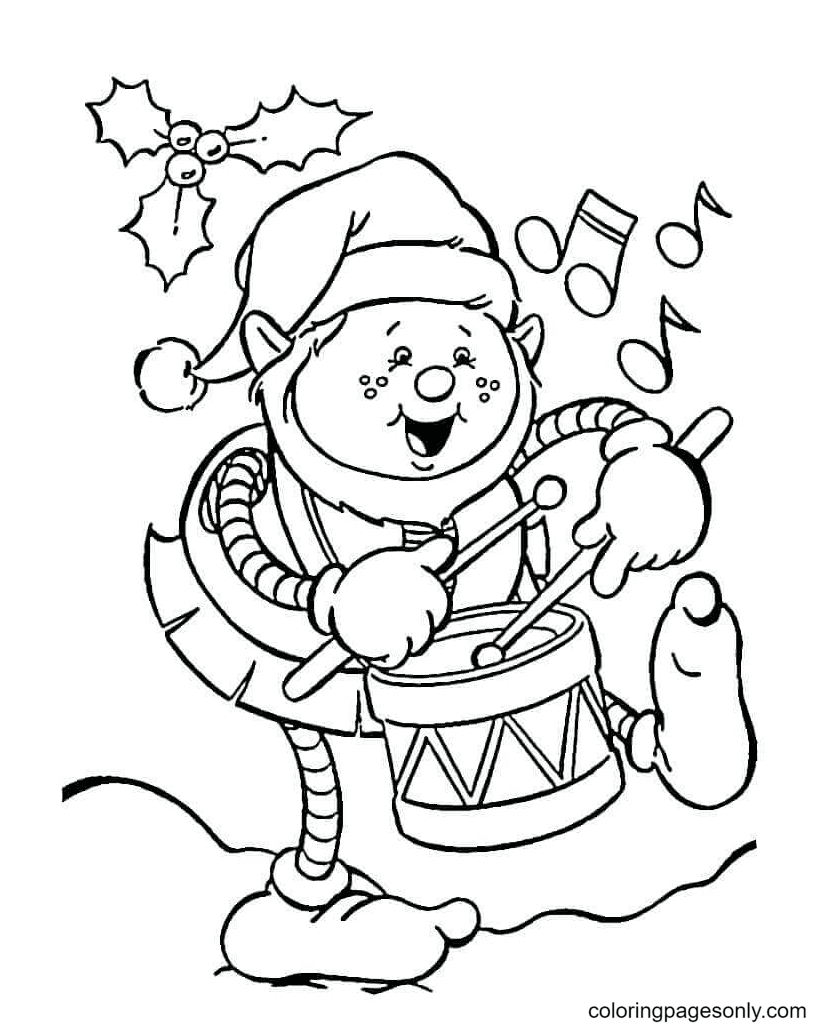 Elf Beating The Drum Coloring Page