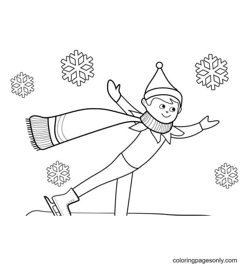 Elf Enjoying Winter Coloring Page