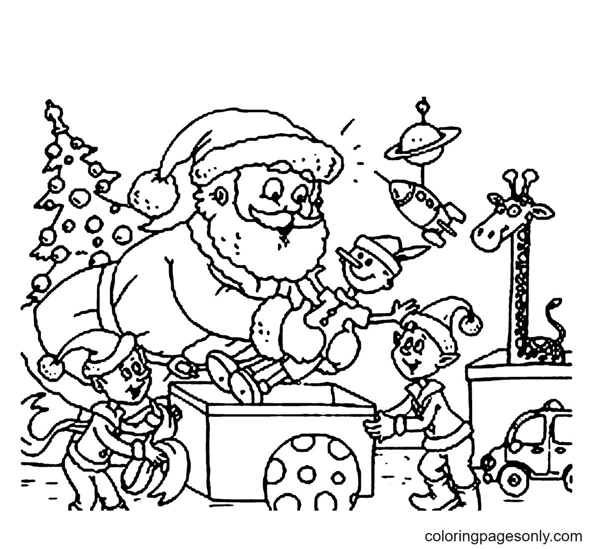 Elf Helping Santa Coloring Page
