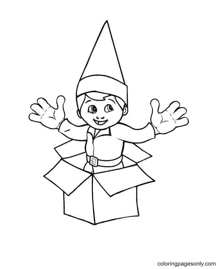 Elf In The Gift Pack Coloring Page