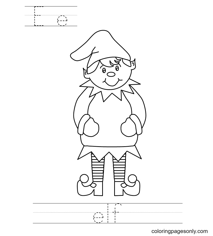 Elf Jigsaw Puzzle Coloring Page