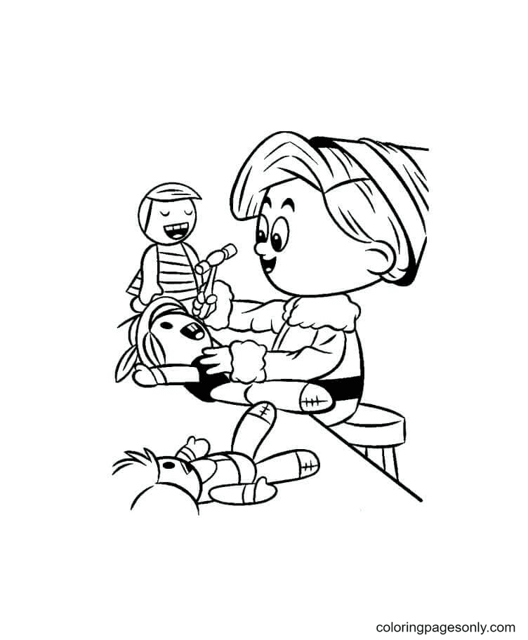 Elf Making Toys Coloring Page