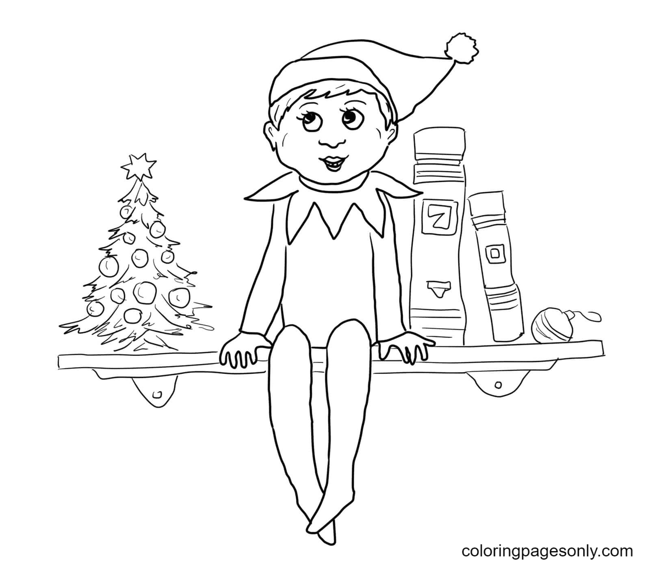 Elf Sitting on The Shelf Coloring Page
