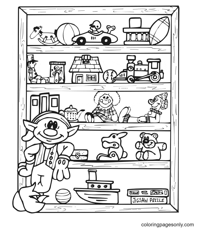Elf With His Toys Coloring Page