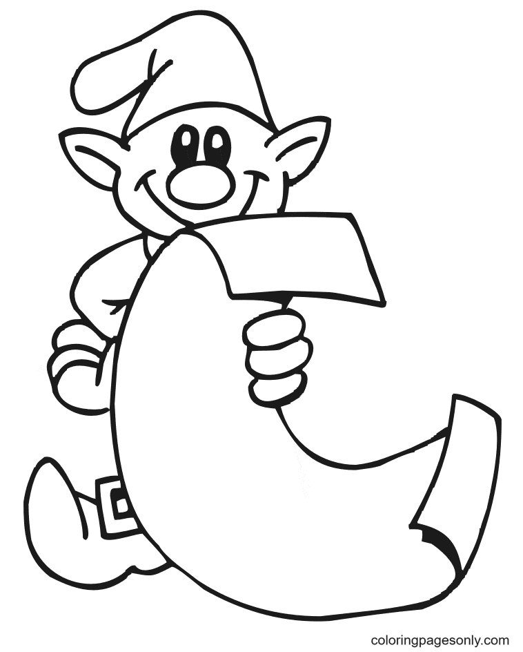 Elf With List Of Instructions Coloring Page
