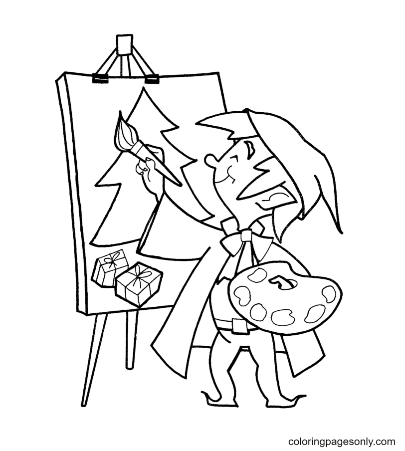 Elf is Painting Coloring Page