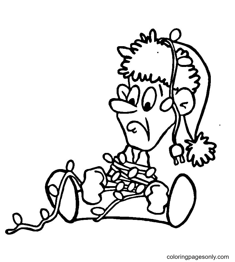 Elf tangled In Christmas lights Coloring Page