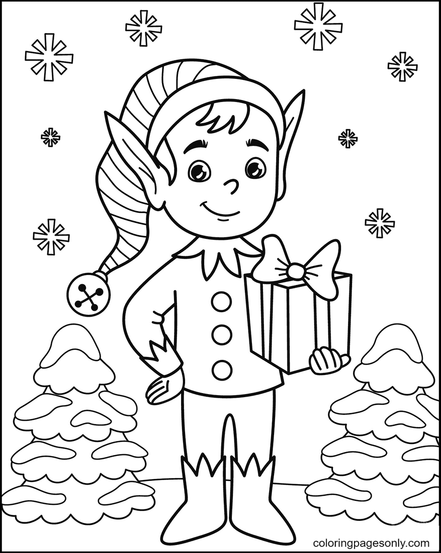 Elf with Gift Box in Hand Coloring Page