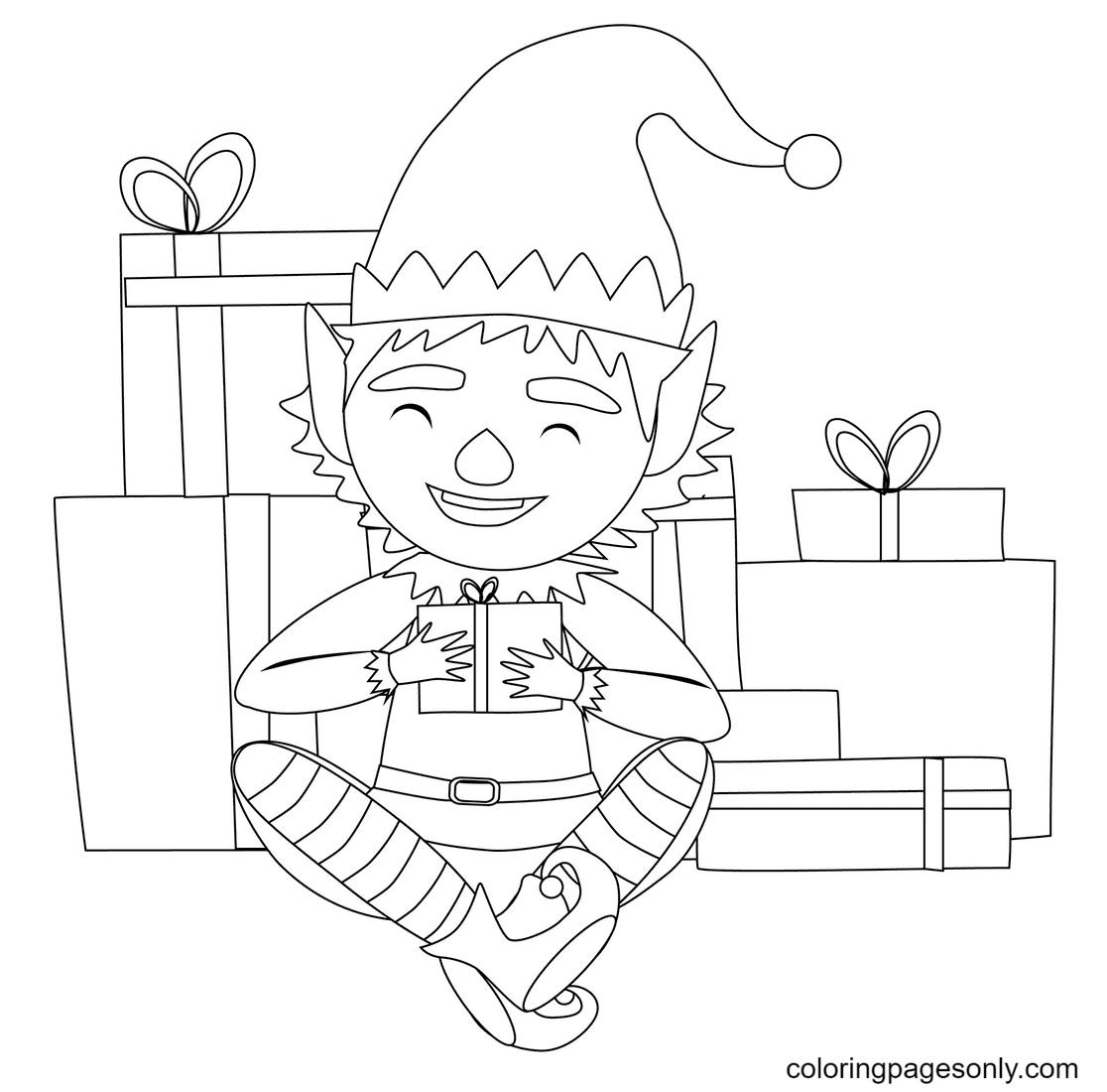 Elf with Presents Coloring Page