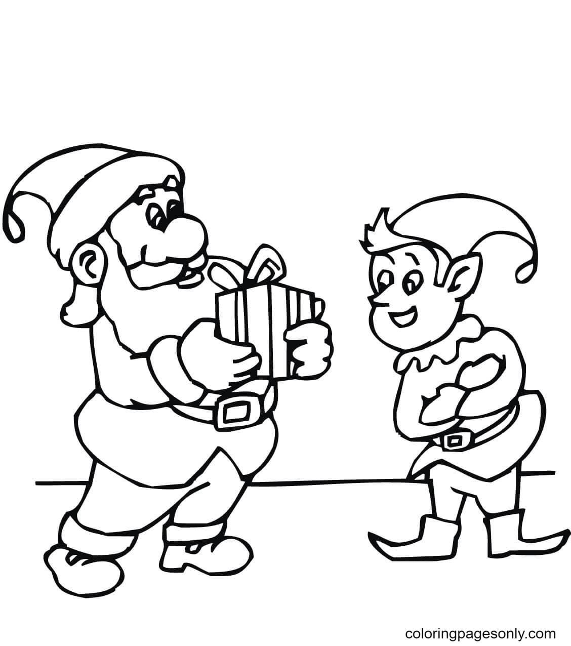 Elf with Santa Coloring Page