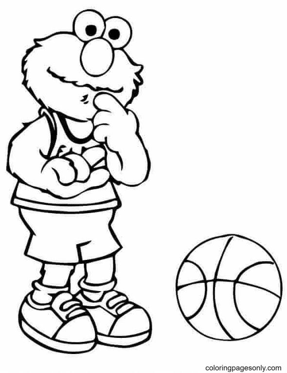 Elmo Basketball Coloring Page