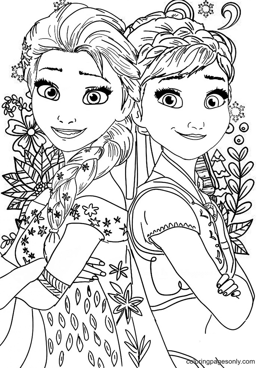 Elsa, Anna From Frozen Coloring Page