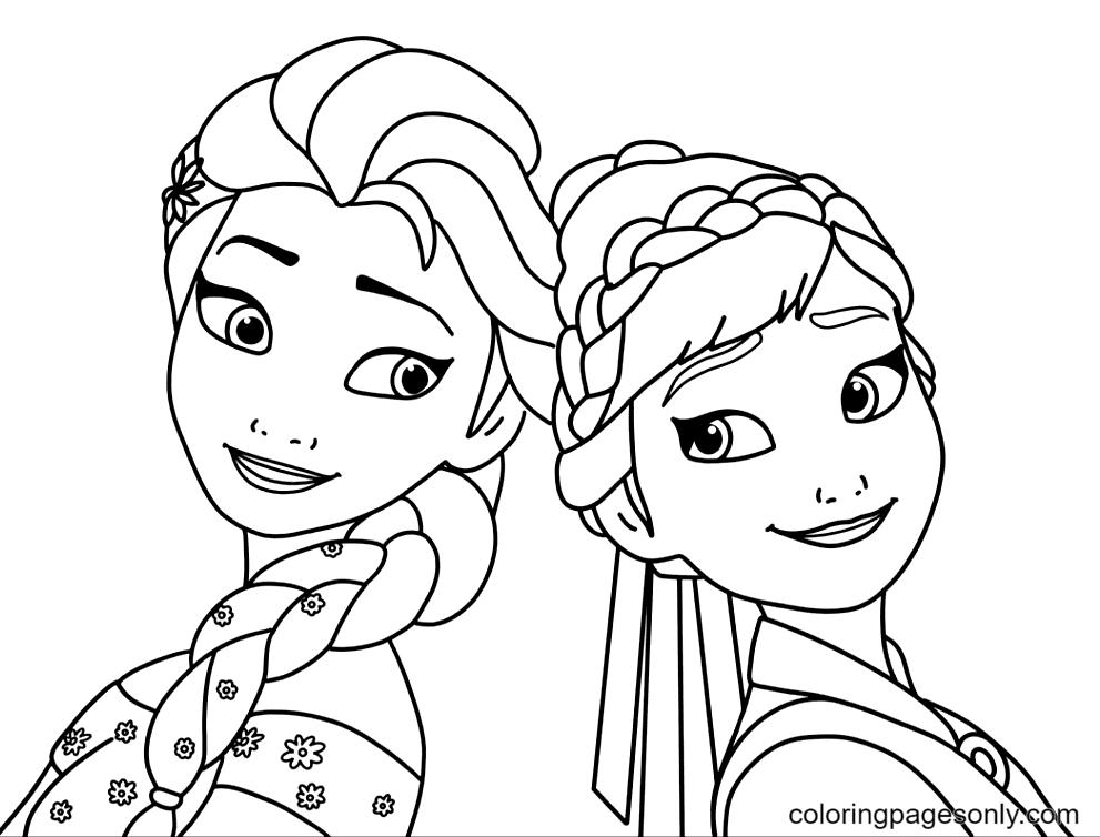 Elsa, Anna Frozen Coloring Page