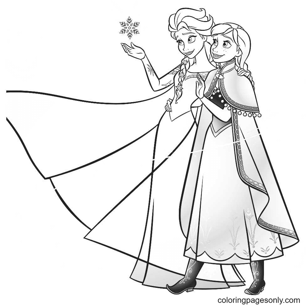 Elsa Anna Frozen Coloring Page