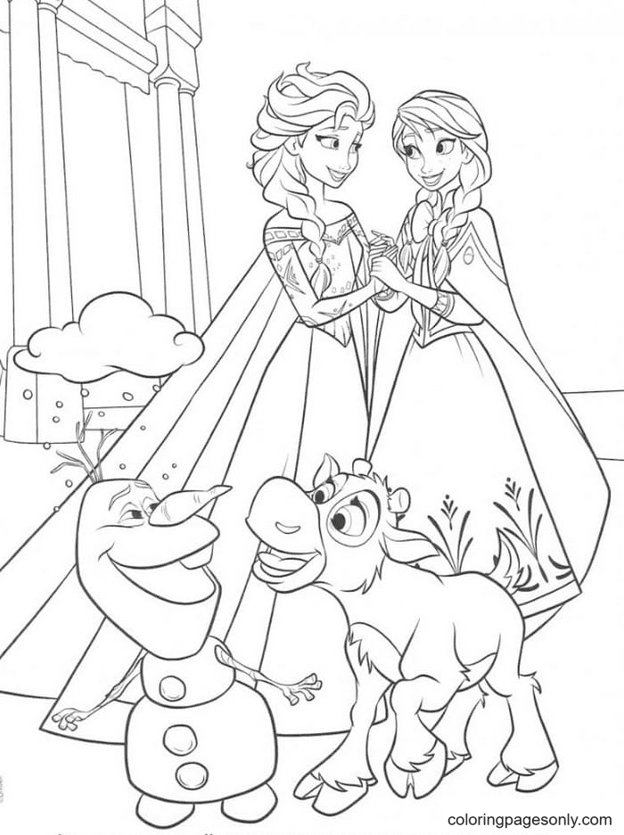 Elsa, Anna with Deer and Snowman Coloring Page