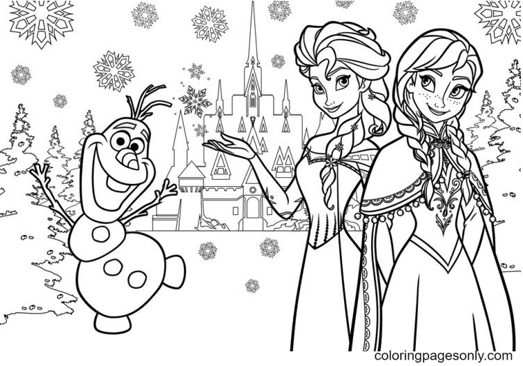 Elsa, Anna with Olaf Coloring Page