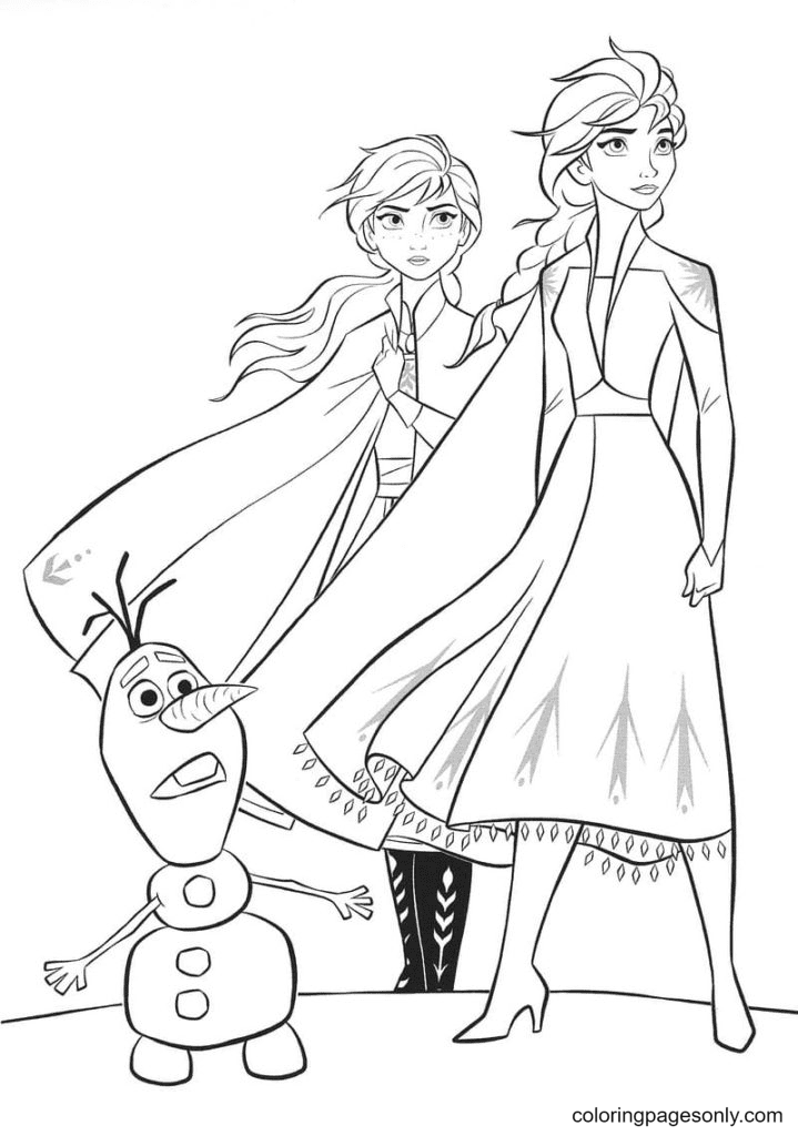 Elsa, Anna with Snowman Coloring Page