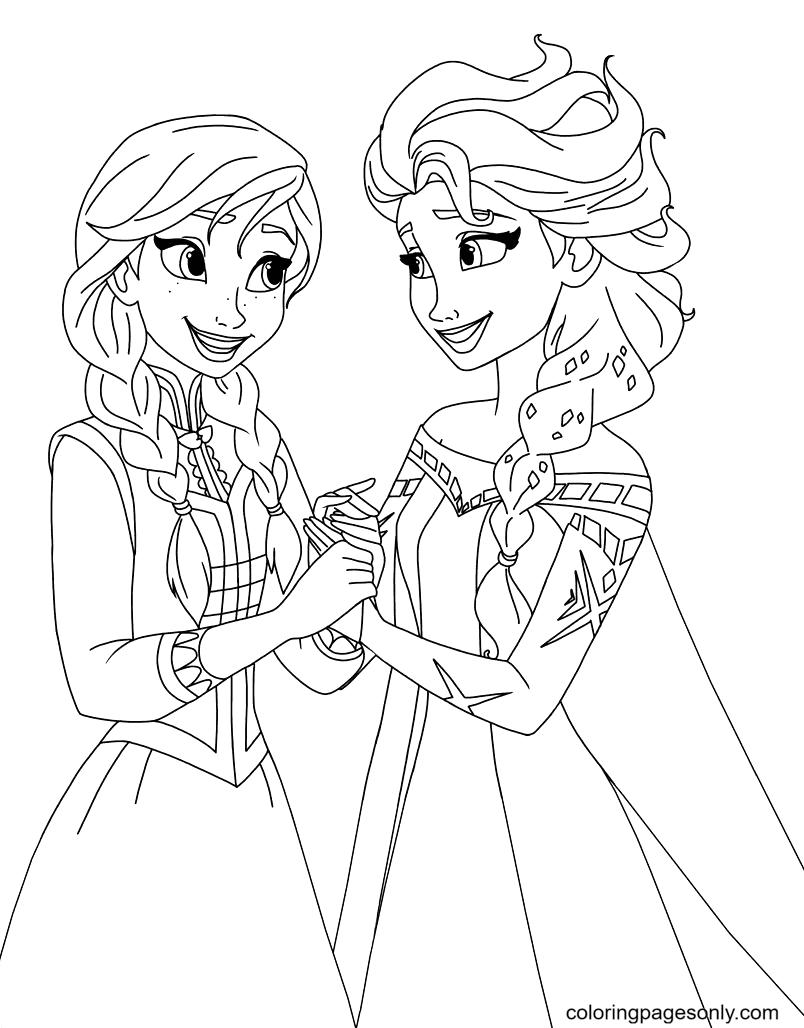 Elsa & Anna Coloring Page