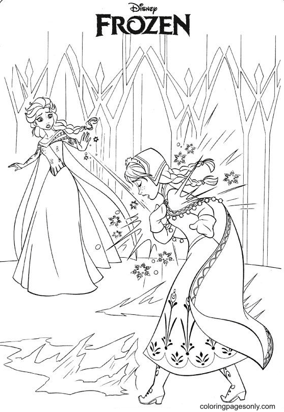 Elsa and Anna Frozen Coloring Page