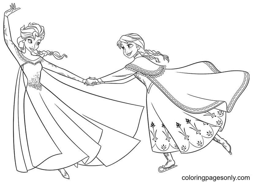 Elsa and Anna Happily Dancing Coloring Page