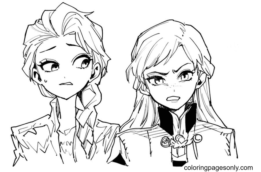 Elsa and Anna in Anime Image Coloring Page