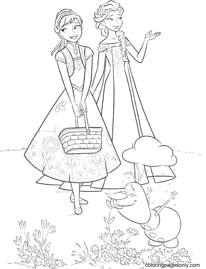Elsa and Anna with Olaf Coloring Page