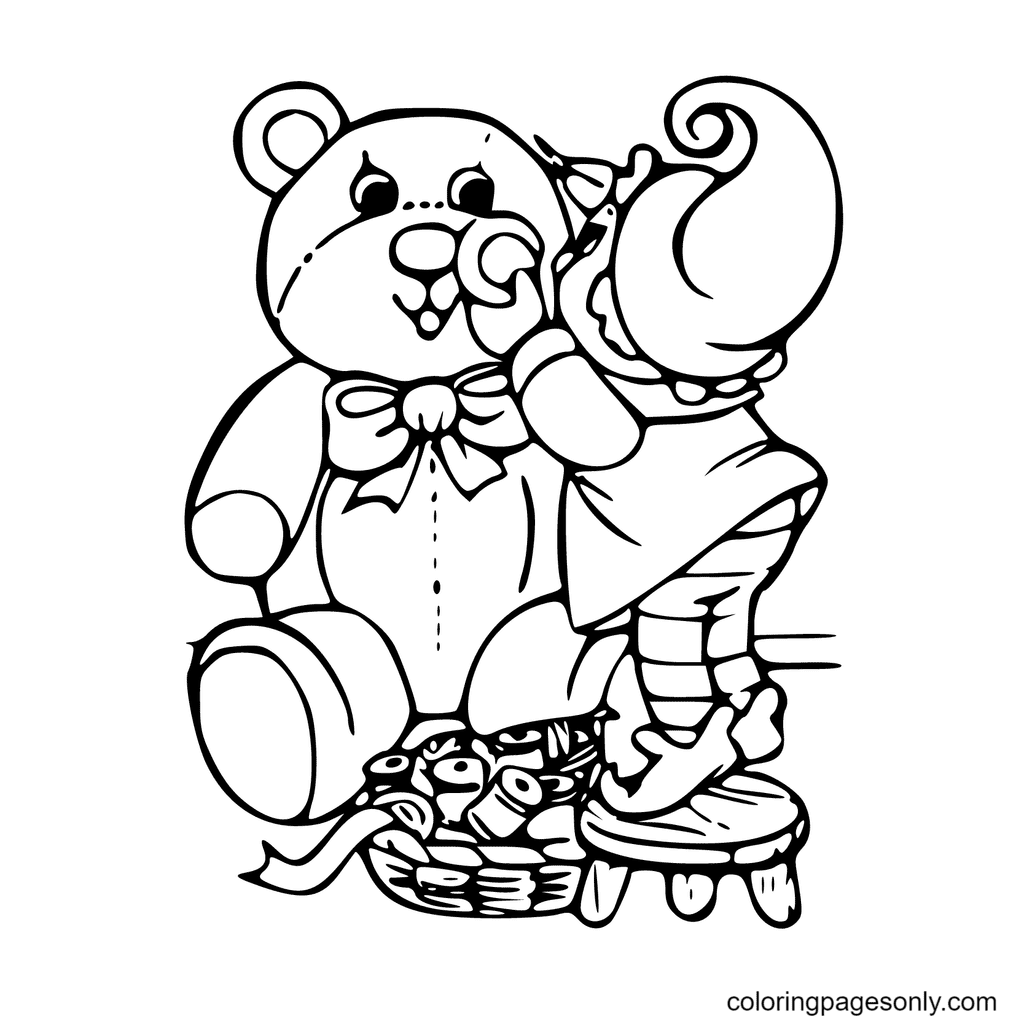 Elves Draw A Big Bear Coloring Page