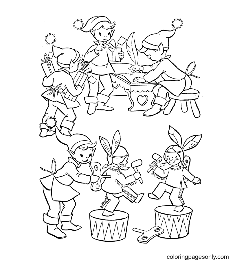Elves are making Toys Coloring Page