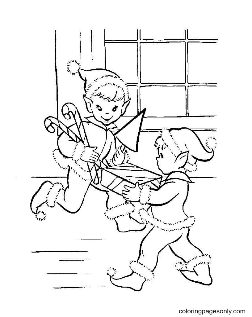 Elves with Christmas presents Coloring Page