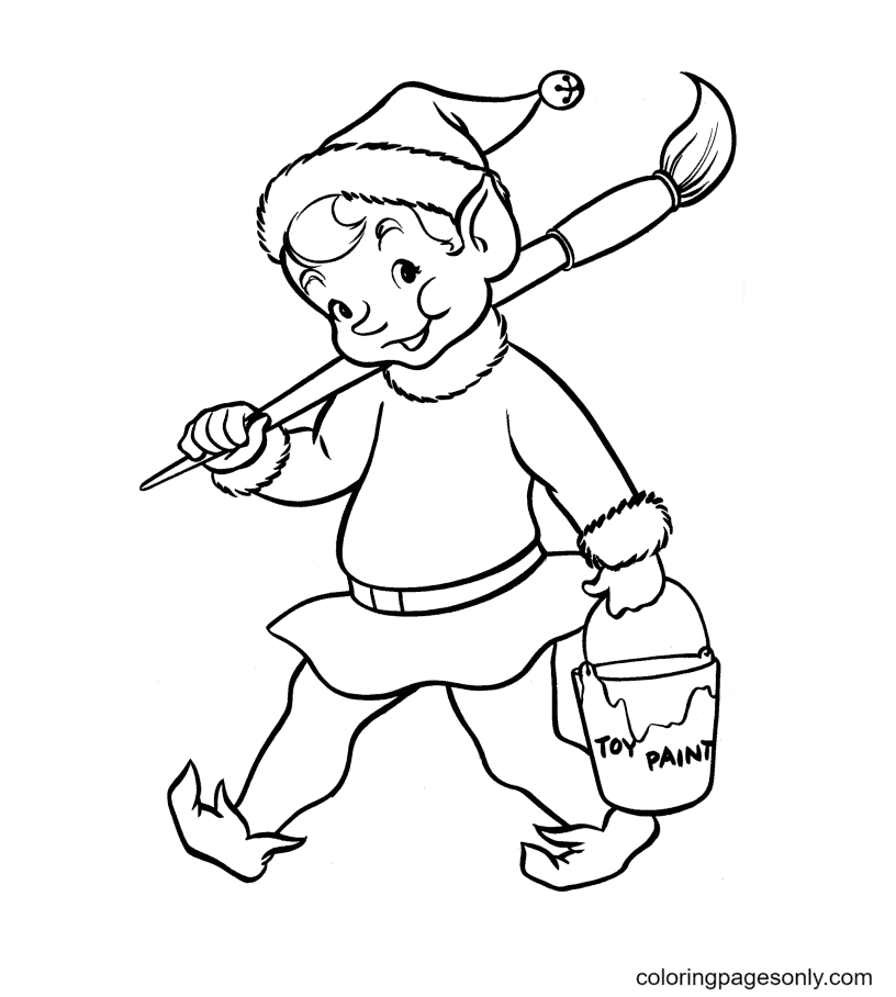 Elves with Paintbrush and Toy Paint Bucket Coloring Page