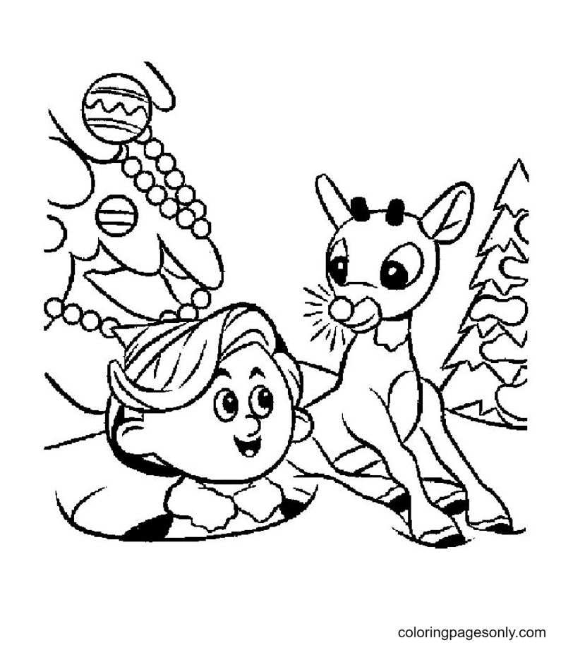 Elves with Reindeer Coloring Page