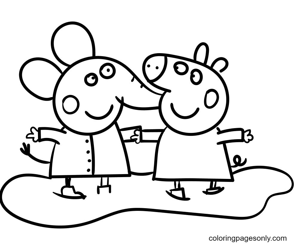 Emily Elephant with Peppa Pig Coloring Page