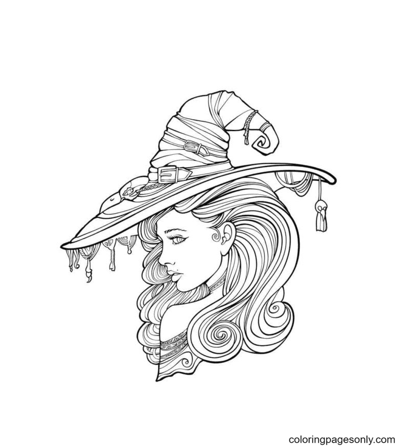 Enchanting Witch Hat Coloring Page