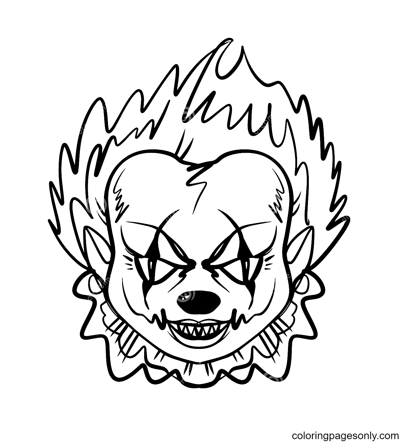 Evil Clown Halloween Mask Coloring Page