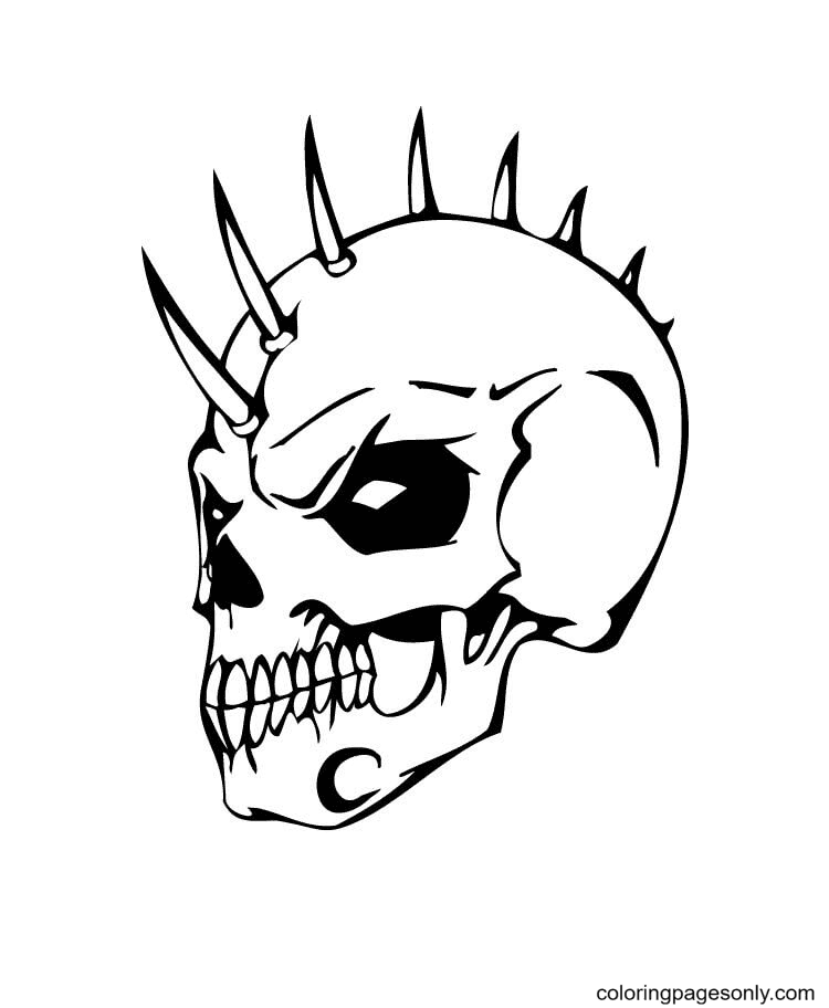 Evil Skull with Bonehawk Coloring Page