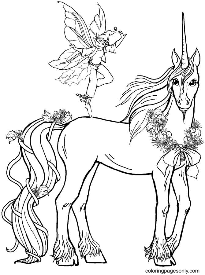Fairy Boy and Christmas Unicorn Coloring Page