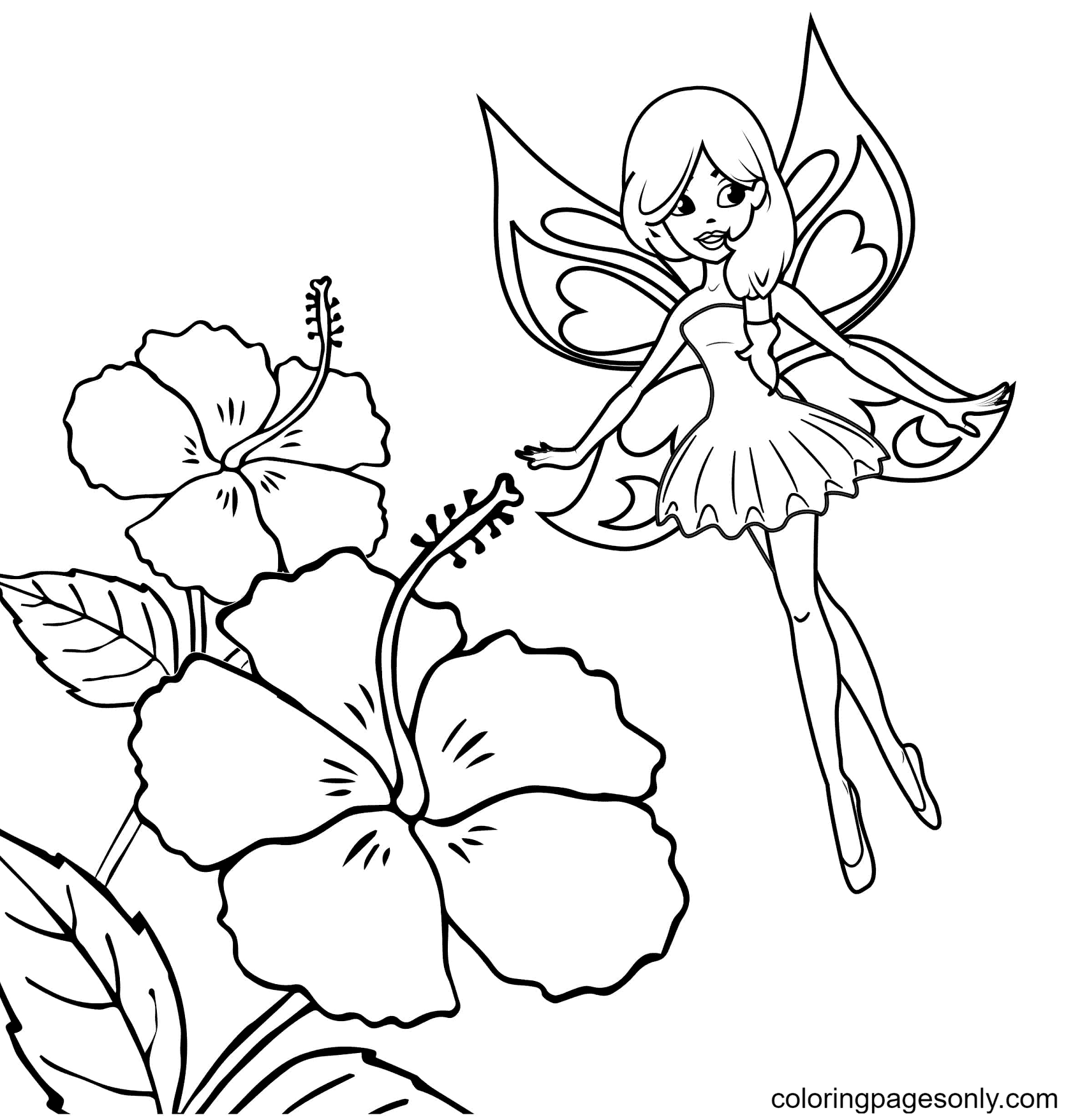 Fairy Flies Above Flower Coloring Page