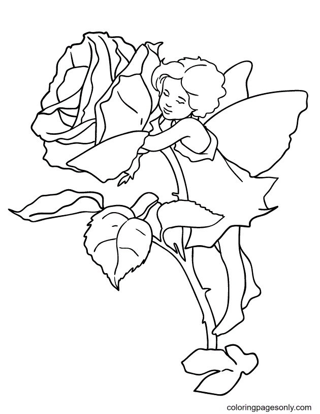 Fairy Hugging a Red Rose Coloring Page