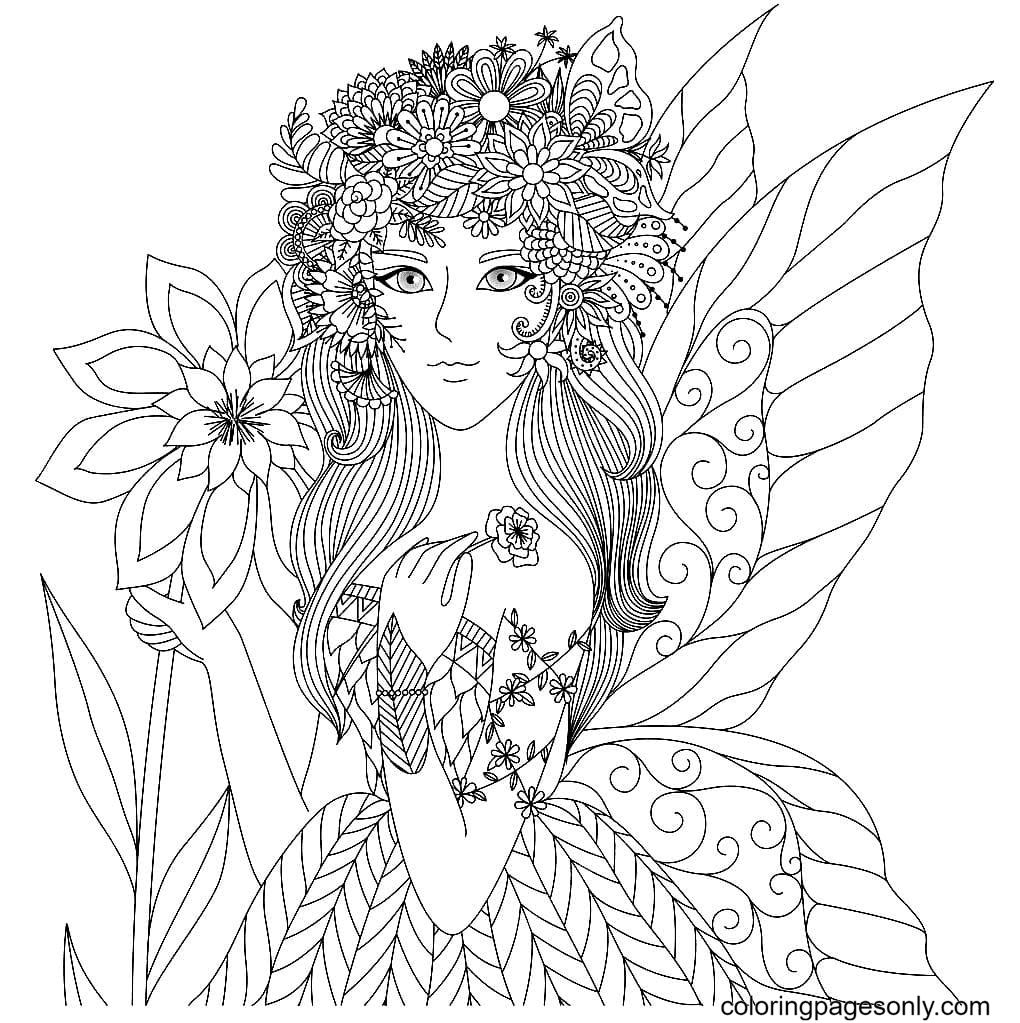 Fairy Summer Coloring Page