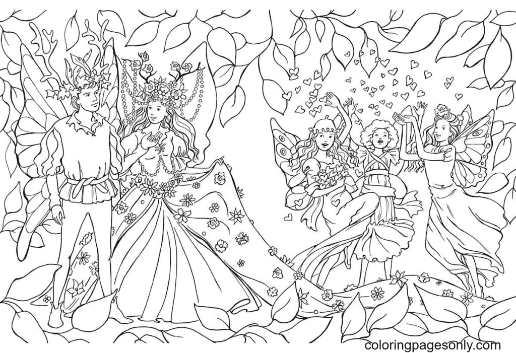 Fairy Wedding Coloring Page