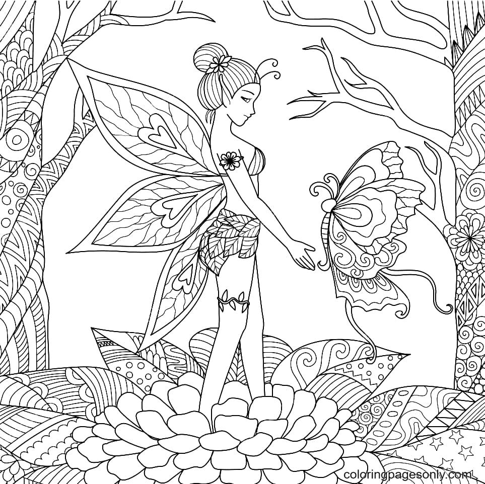 Fairy and Butterfly in the Forest Coloring Page