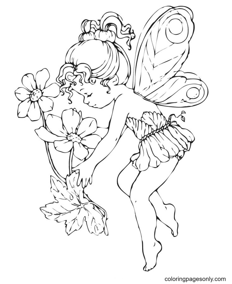 Fairy and Flowers Coloring Page