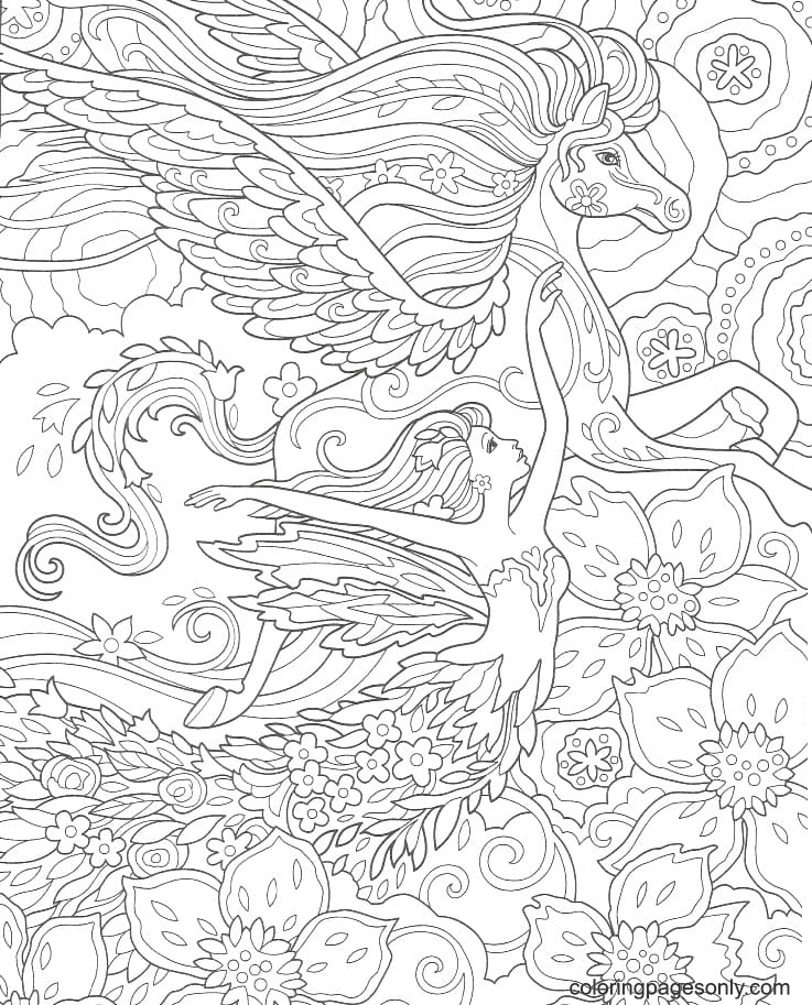 Fairy and Pegasus Antistress Coloring Page